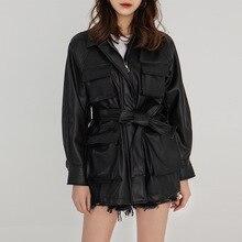 Women Wear Vintage Fashionable Lapel Waist PU Leather Jacket  2019 Turn-down Collar Sashes Black Coats and Jackets