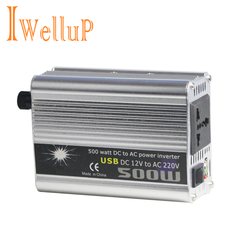 Iwellup 500W Car Inverter 12v 220v 50Hz Auto Invertor 12 220 Cigarette Lighter Plug Power Converter Inverter Peak Power 1000W image