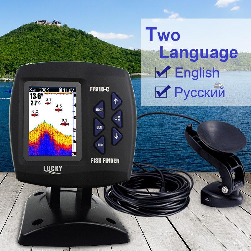 Lucky buscador de peces ff918-c100d doble frecuencia 328ft/100 m profundidad del agua barco buscador ecosonda para Pesca en ruso