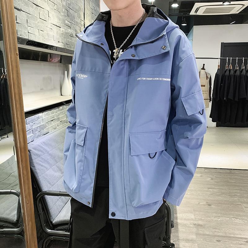 Autumn Men 39 s Hooded Jackets Multi Pocket Printing Men 39 s Jackets Coats Track Black Blue Gray Men 39 s Jackets in Jackets from Men 39 s Clothing