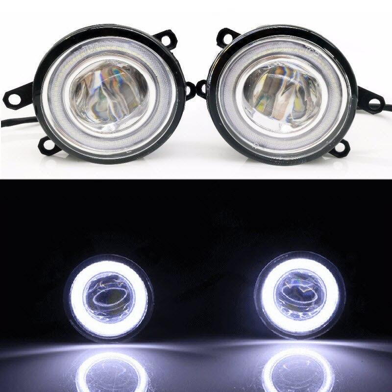 2 в 1 LED линии объектива Противотуманные фары лампы 3 цвета Ангельские глазки DRL Габаритные огни для Toyota Corolla Verso 2004 2009