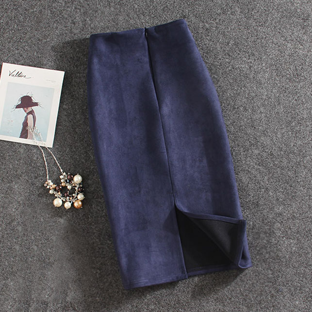 Women Skirts Suede Split Thick Stretchy Skirt Female Pencil Skirts Plus Size Faldas Mujer #2