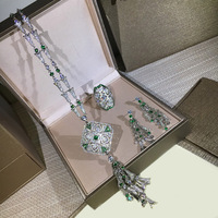 Luxury Brand High Fashion Party Wedding Jewelry Set For Women In Dubai Charms Green Crystal Zircon Earring Necklace Ring Set