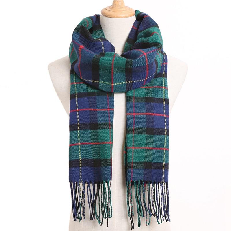 [VIANOSI] клетчатый зимний шарф женский тёплый платок одноцветные шарфы модные шарфы на каждый день кашемировые шарфы - Цвет: 26