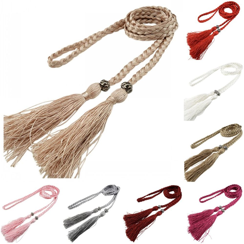 Women Girls Woven Tassel Belt Ladies Belt Korean Style Tassel Clothing Waist Strap Braided Belt Self-Tie Thin Chain Waist Tie