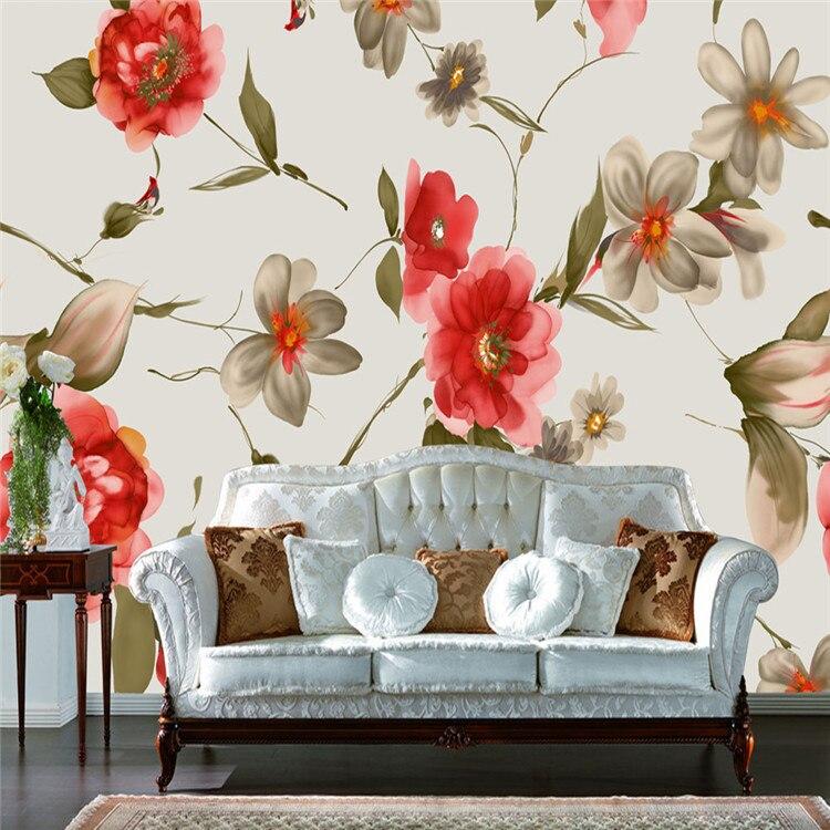 Aliexpresscom Buy Vintage Style Flowers Wallpaper Silk Wall