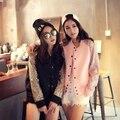 Sudaderas mujer 2015 осень впп дизайнер пальто женщин элегантной роскоши блестки сплайсинга пространство хлопок куртка