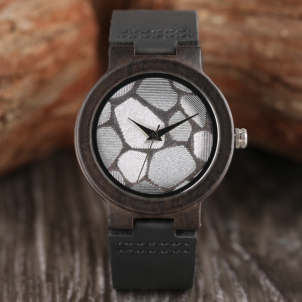 Women's Natural Ebony Wood Bamboo Quartz Watches Unique Polygon Glitter Fashion Soft Genuine Leather Wristwatch Relogio feminino unique natural wood sunglasses