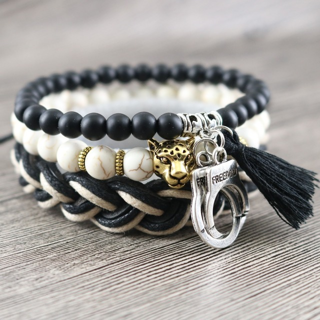 Original 3 In 1 Vintage Male Bracelets White Beads Knot Stretch Handmade Rope Braided Leather