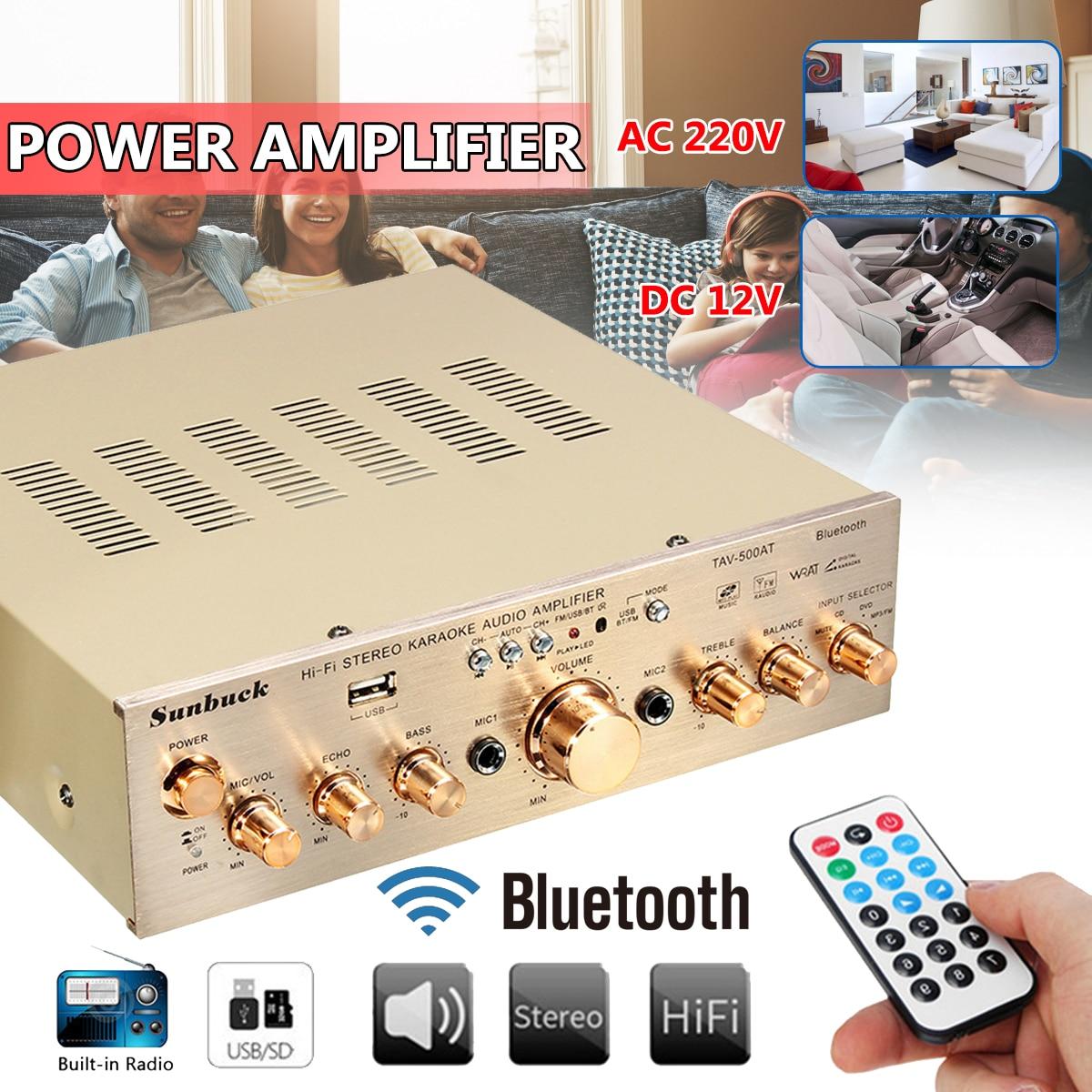 Sunbuck 12V/ 220V 600W HIFI Car Audio Stereo Power Amplifier Bluetooth Audio Karaoke Amplifiers Car Home Theater Amplifiers lusya bluetooth subwoofer digital amplifier board dual microphone karaoke amplifiers 12v 24v 220v