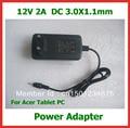 12 v 2a 3.0*1.1mm eua ue carregador de parede para acer iconia tab w3 w3-810 a500 a501 a200 a100 a101 para lenovo miix2 10 tablet pc