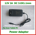 12V 2A 3.0*1.1mm EU US Wall Charger for Acer Iconia Tab W3 W3-810 A500 A501 A200 A100 A101 For lenovo Miix2 10 Tablet PC