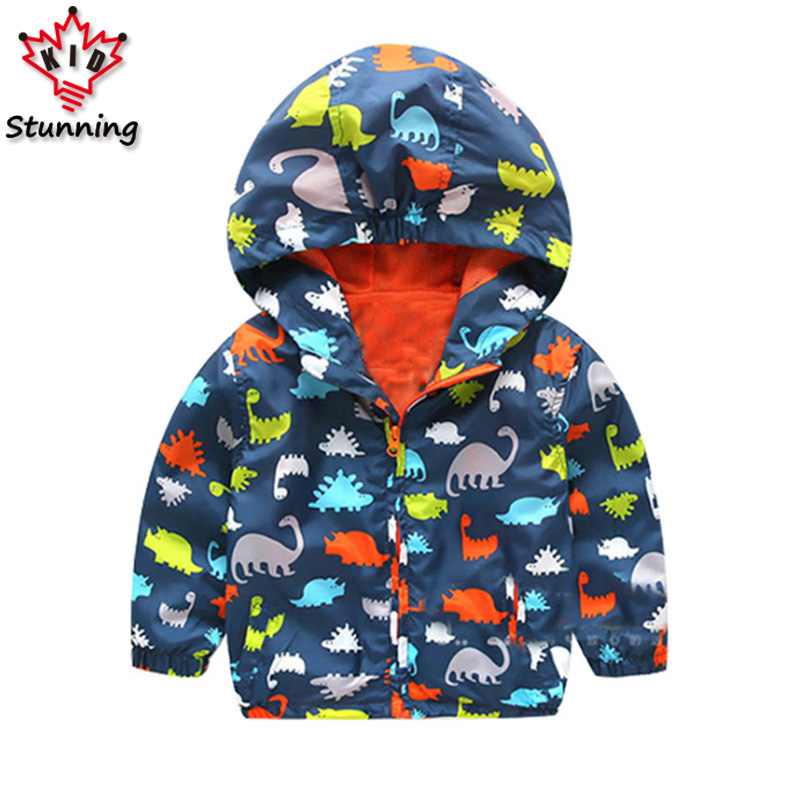 24M-6T Children Jackets Spring 2017 Dinosaur Ptinted Girls Boys Jacket Coats Fashion Outwear&Coats Kid Sunscree Jacket for Boys