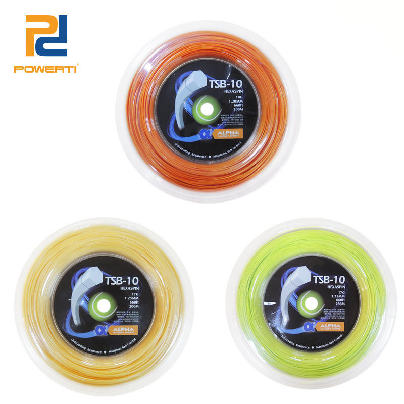 Powerti Hexagonal 1.25mm Polyester Tennis String 200m Reel String Durable Control Felling Tennis Racket Tennis String TSB-10 free shipping geo synthetic hexagonal nylon soft tennis racket string reel tsb 03