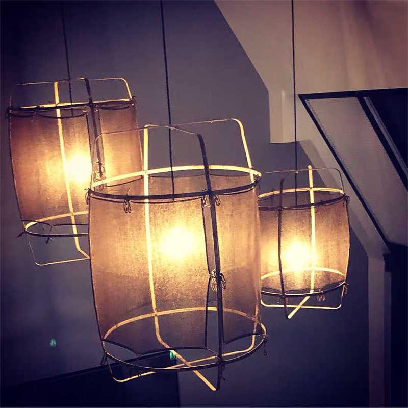 Ay осветительная льняная черно-белая бамбуковая Подвесная лампа для столовой гостиной Подвесная лампа для спальни 85-265 в кухня