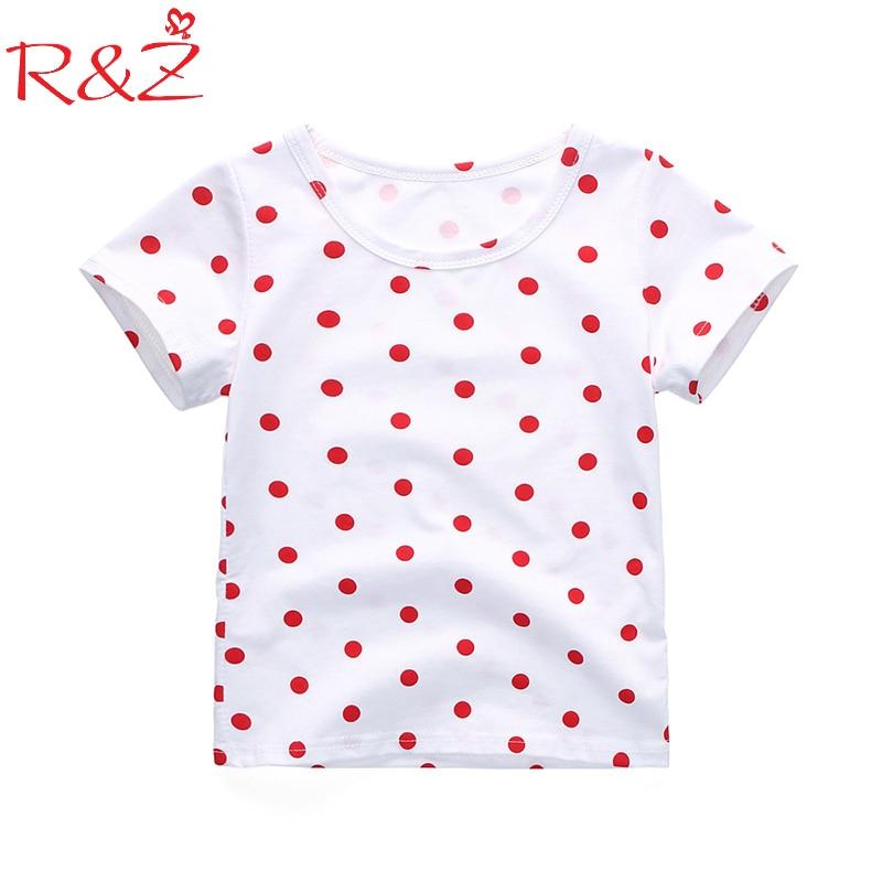 цена на R&Z Baby Girls T-shirt 2018 Summer New Dot Cotton Boys and Girls on Behalf of A Korean Short Sleeved Shirt Tops for Children k1