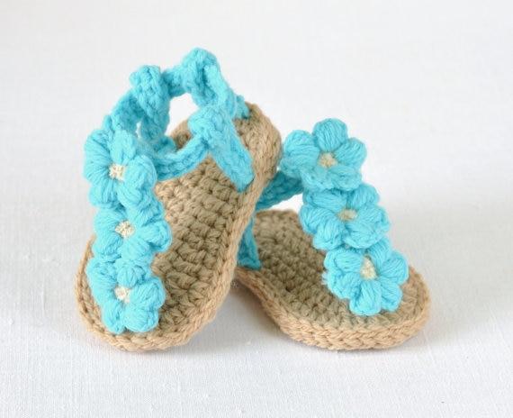 Freies verschiffen, Häkeln Baby flip flop sandalen, baby Sommer ...