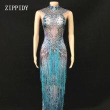 반짝 이는 블루 프린지 드레스 가수 성능 tassels 드레스 파티 축하 glisten 라인 석 의상 민소매 긴 드레스