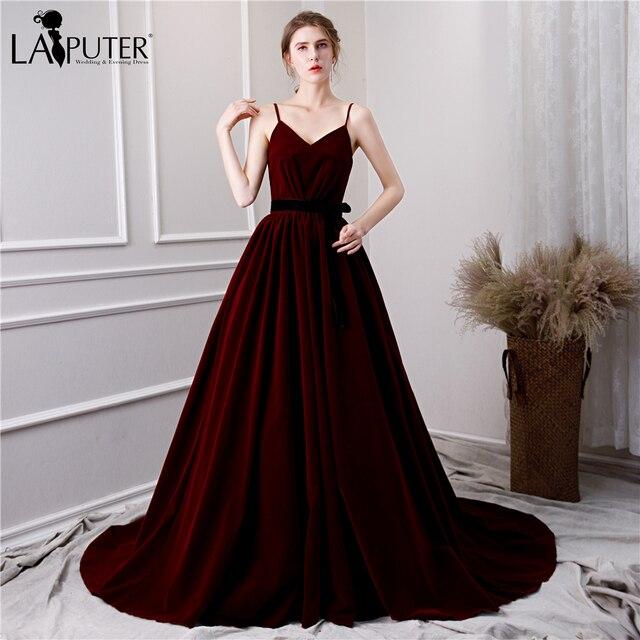 683c2b1e3ae LAIPUTER 2019 Cheap Burgundy Velvet Evening Dresses Long A-line V-neck  Spaghetti Sash Prom Dresses Elegant