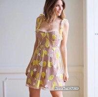 Women Fruitpunch Sequin Mini Dress Adjustable Shoulder Ties Raw Edge Neck Embroidered 3 D Applique Flowers Tropical Mini Dress
