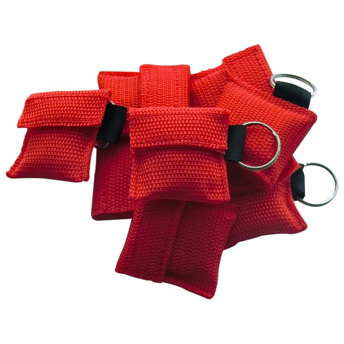 80 pcs/paquet croix-rouge rcr masque de réanimation trousse de secours de premiers secours rcr bouclier facial avec porte-clés outil de soins de santé à sens unique