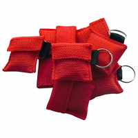 80Pcs/Pack Red Cross CPR Resuscitator Mask First Aid Rescue Kit CPR Face Shield With Keychain One Way Health Care Tool