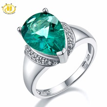 Hutang 6 21ct Genuine Green Fluorite Gemstone Solid 925 Sterling Silver Solitaire Ring Fine Jewelry