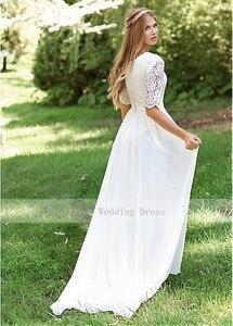 Image 5 - Classic O Neck Cheap Lace Wedding Dress Chiffon Skirt Design Half Sleeve Custom Made Zipper Back Bridal Dresses 2019 Hot
