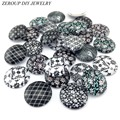 10pcs/lot 20mm 25mm round pattern glass cabochon,mixed patterns flat back handmade supplies for jewelry accessories