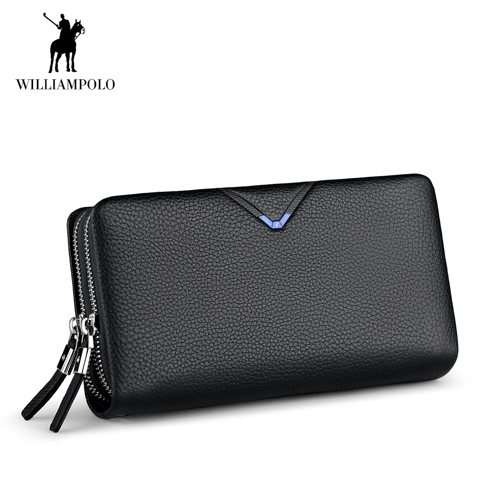 WilliamPOLO Brand Man Wallet Double Zipper Money Clip Wallet Clutch Bag Men's Purses Genuine Leather Men Wallets Long Male Purse men wallet men contracted purse pu leather wallets short money clip wallet male clutch bag portfolio purses cartera hombre n 032