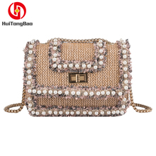 Women Bag Pearl Beach Shoulder Bag Crossbody Messenger Flap Chain Slung Lock Buckle Bag Luxury Handbags Crossbody Bags Designer colorblock flap chain crossbody bag