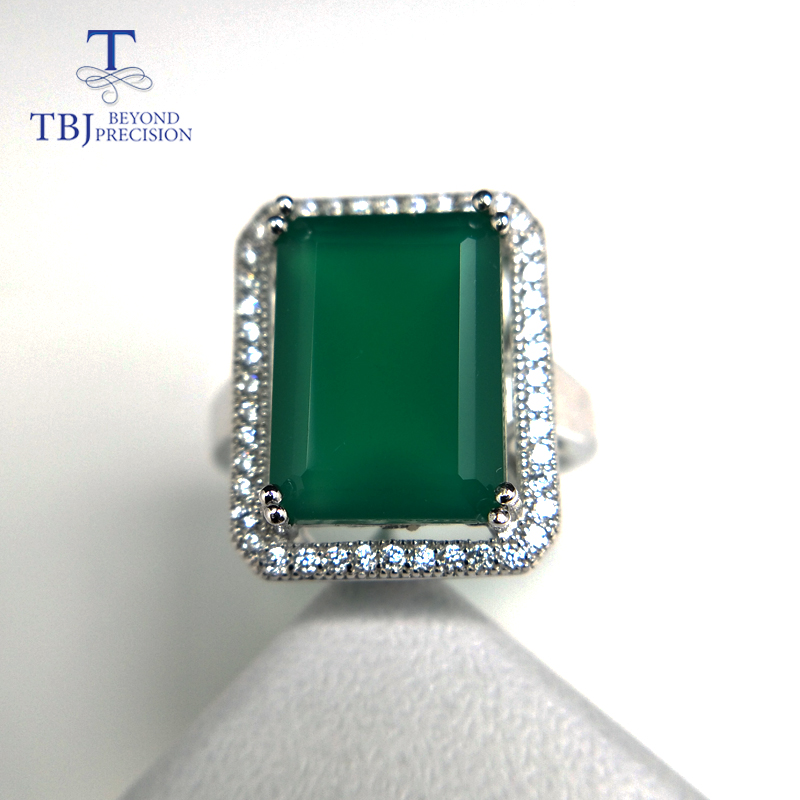 TBJ,Big gemstone Ring with natural green agate in 925 sterling silver grace and nobility gemstone jewelry for women ladies gift ethnic wind bracelets men and women decorations green agate 925 silver ball duobao string original jewelry