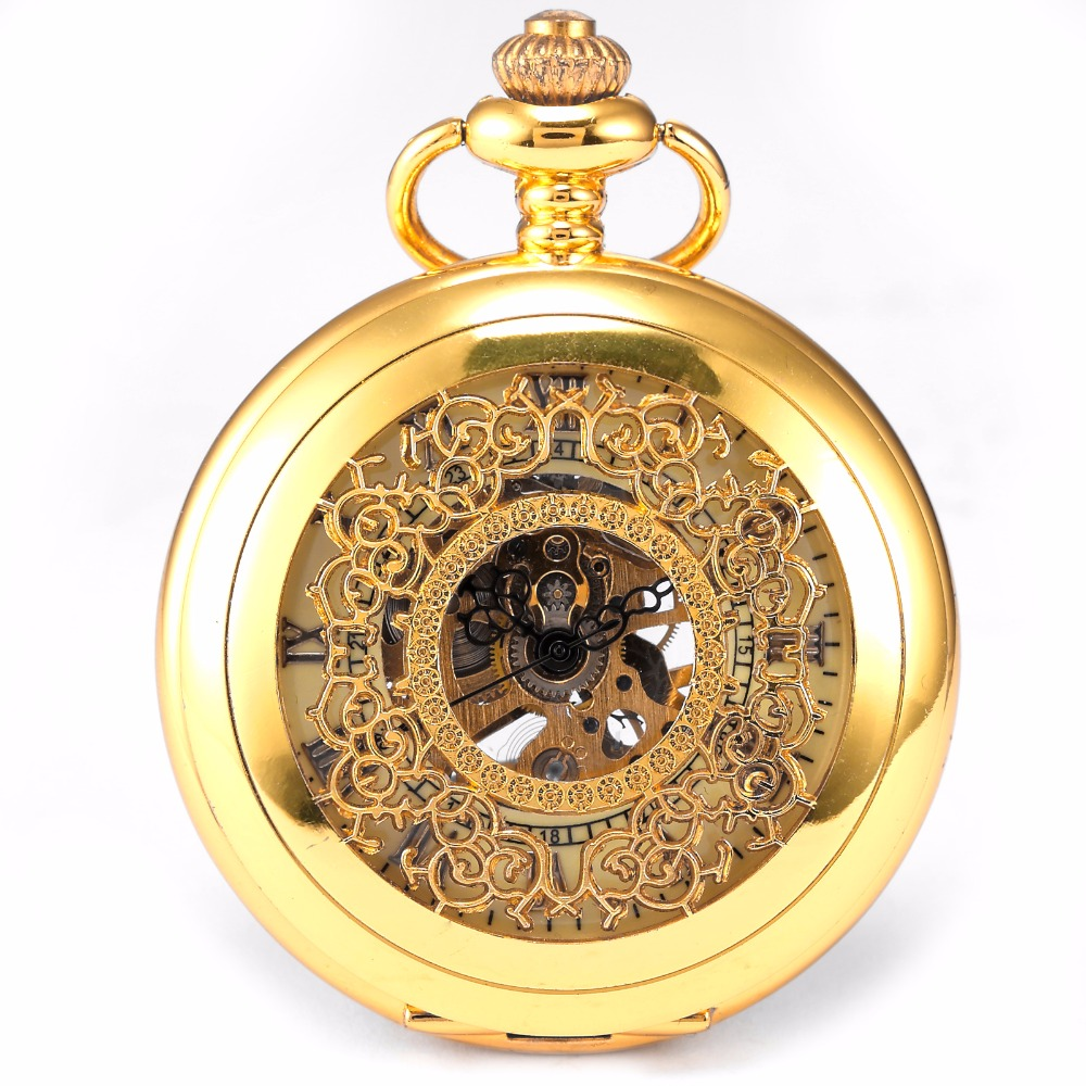 Fashion KS Classic Retro Hollow Gold White Dial Skeleton Hand Winding Mechanical Analog Men Chain Pocket Watch +Gift Box/ WPK020 цена и фото