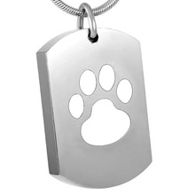 Hot Silver/Black/White Dog Paw Print Crematon Urn Necklace Keepsake 316L Stainless Steel Dog Tag Memorial Ashes Holder Jewelry