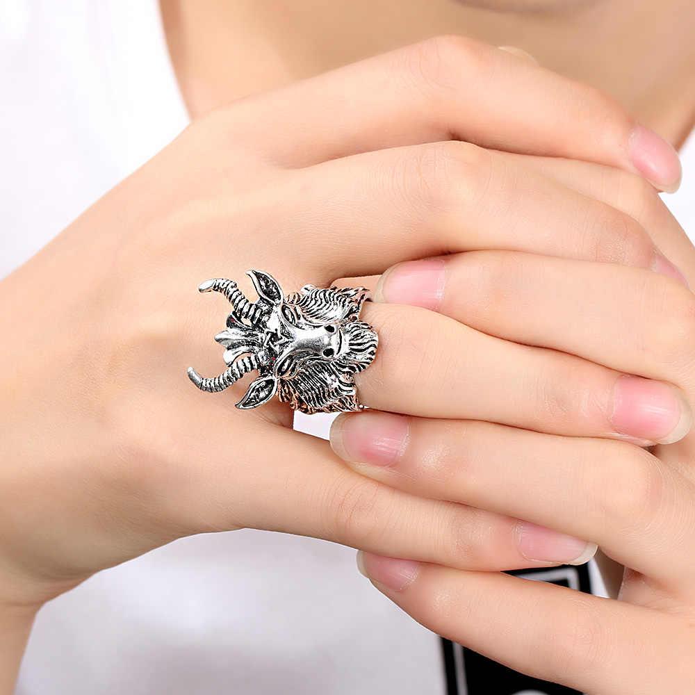 1Pc Punk Stijl Roestvrij Stalen Ring Antieke Pentagram Satanisch Geit Schapen Hoofd Rock Ring Vintage Mannen Mode-sieraden erkek Halka
