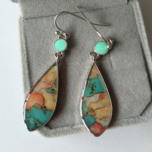1 Pair New Arrival Ethnic Boho Drop Dangle Earring Vintage Turquoises Stone Pendant Long for Women Bijoux Femme Gifts