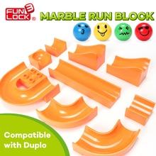 Funlock Duplo Marble Run Assemble Plastic Slide Building Blocks Parts Toys for Children
