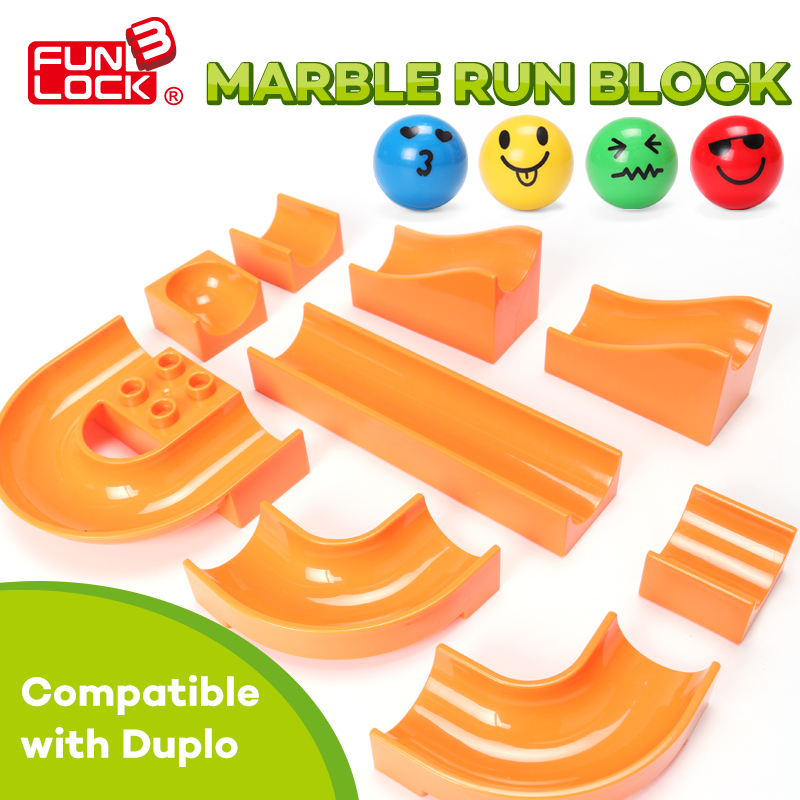 Funlock Duplo Marble Run Assemble Plastic Slide Building font b Blocks b font Parts font b