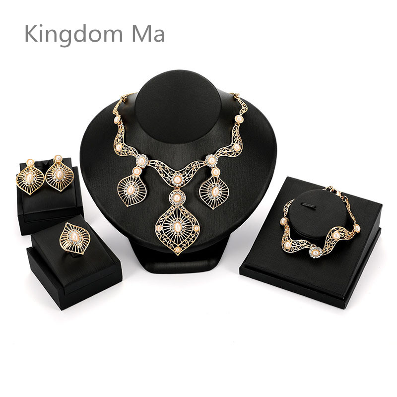 Kingdom Ma African Beads Pearl High quality Gold Color Jewelry Set Trendy Rhinestone Necklace Wedding Engagement Jewelry Sets