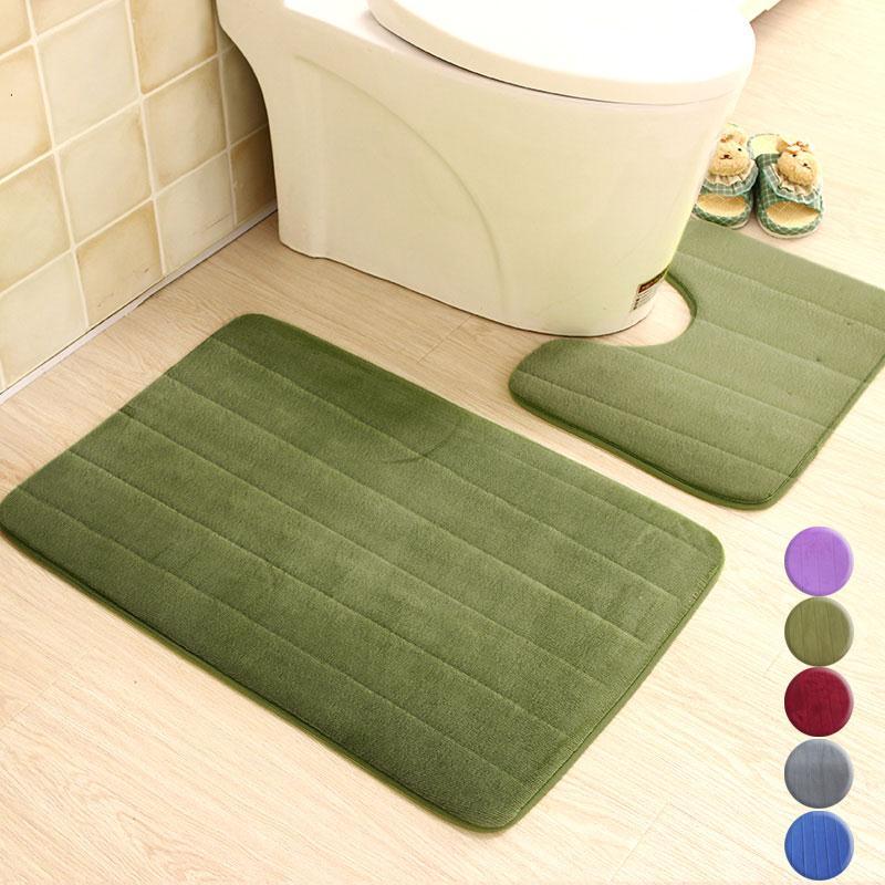 2Pcs//Set Non Slip Bath Mat Memory Foam Toilet Mats Pedestal Rug Bathroom Carpet