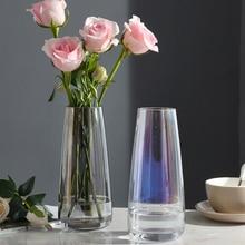 Europe glass flower vase home modern decoration  tabletop vase for wedding accessories decoration