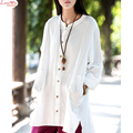 spring soft thick cotton linen solid dreaped finish oversized t-shirt lady two pockets nice thin long sleeve cardigan coat