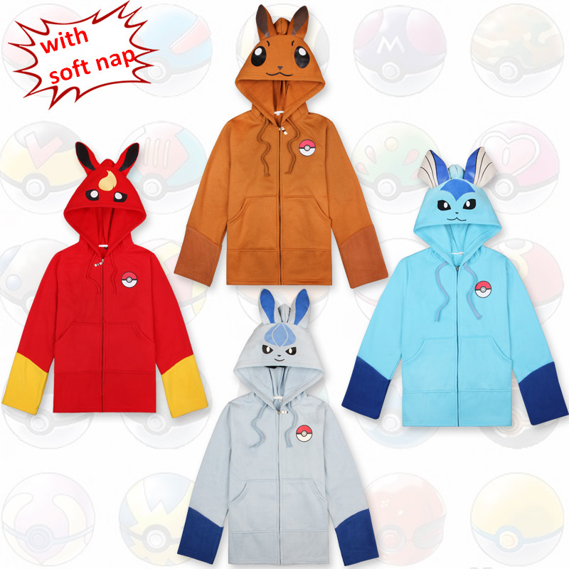 2017 New Anime Pokemon Eevee Hoodies Weatshirts Cosplay Costume Spring/Autumn/Winter Jackets Coat for Men & Women