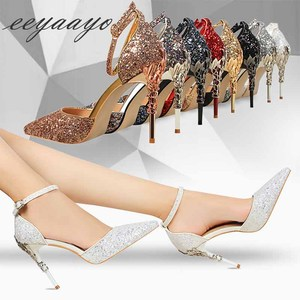 Image 5 - Sandálias femininas sensuais salto alto, calçado feminino de salto alto fino sensual com fivela, noivado, salto alto, verão, 2019 sandálias
