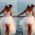 Vestido De Noiva 2016 New Unique Pearl Sweetheart White Tulle Short Front Long Back Wedding Dress Knee Length Bridal Gown