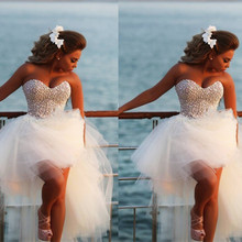 Vestido De Noiva 2016 New Unique Pearl Sweetheart White Tulle Short Front Long Back Wedding Dress Knee Length Bridal Gown