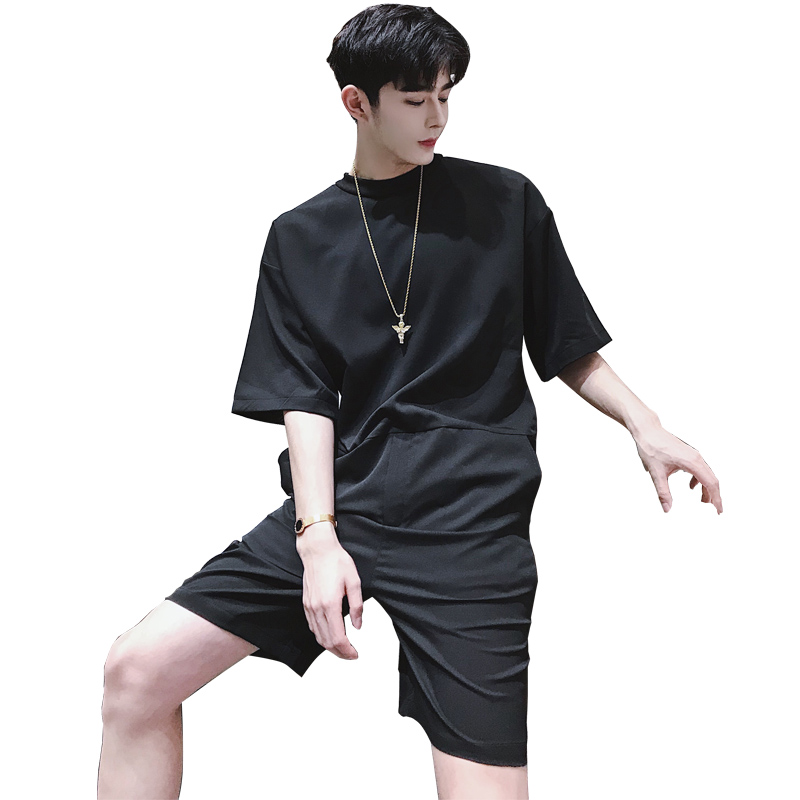 Japanese Tooling Shorts Tide Brand Men's Retro Loose Short-sleeved Jumpsuit Strap Shorts Casual Suit Color Black / Army Green