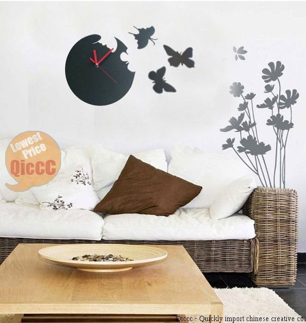 Free Shipping High Quality Cheap Plastic butterfly Time Fly wall clock DIY Art Home decoration Fast shipping