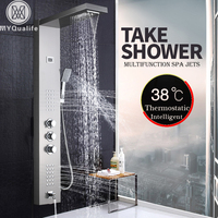 Brushed Nickel Thermostatic Shower Faucet Waterfall Rain Shower Panel 3 Handles Bathroom Shower Mixer Column with Handshower
