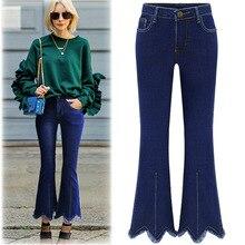2017 Европейский стиль хлопок эластичные джинсы женщин плюс размер XL-5XL высокое качество беленой друга все матч flare брюки джинсовые D268